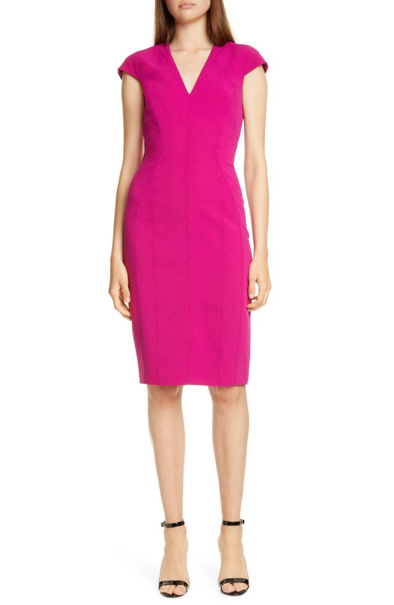 KAREN MILLEN Cap Sleeve Pencil Dress, Main, color, MAGENTA