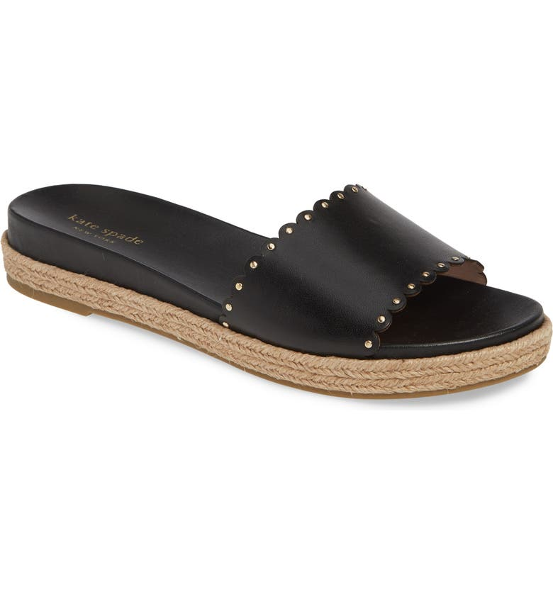 KATE SPADE NEW YORK zeena espadrille slide sandal, Main, color, BLACK