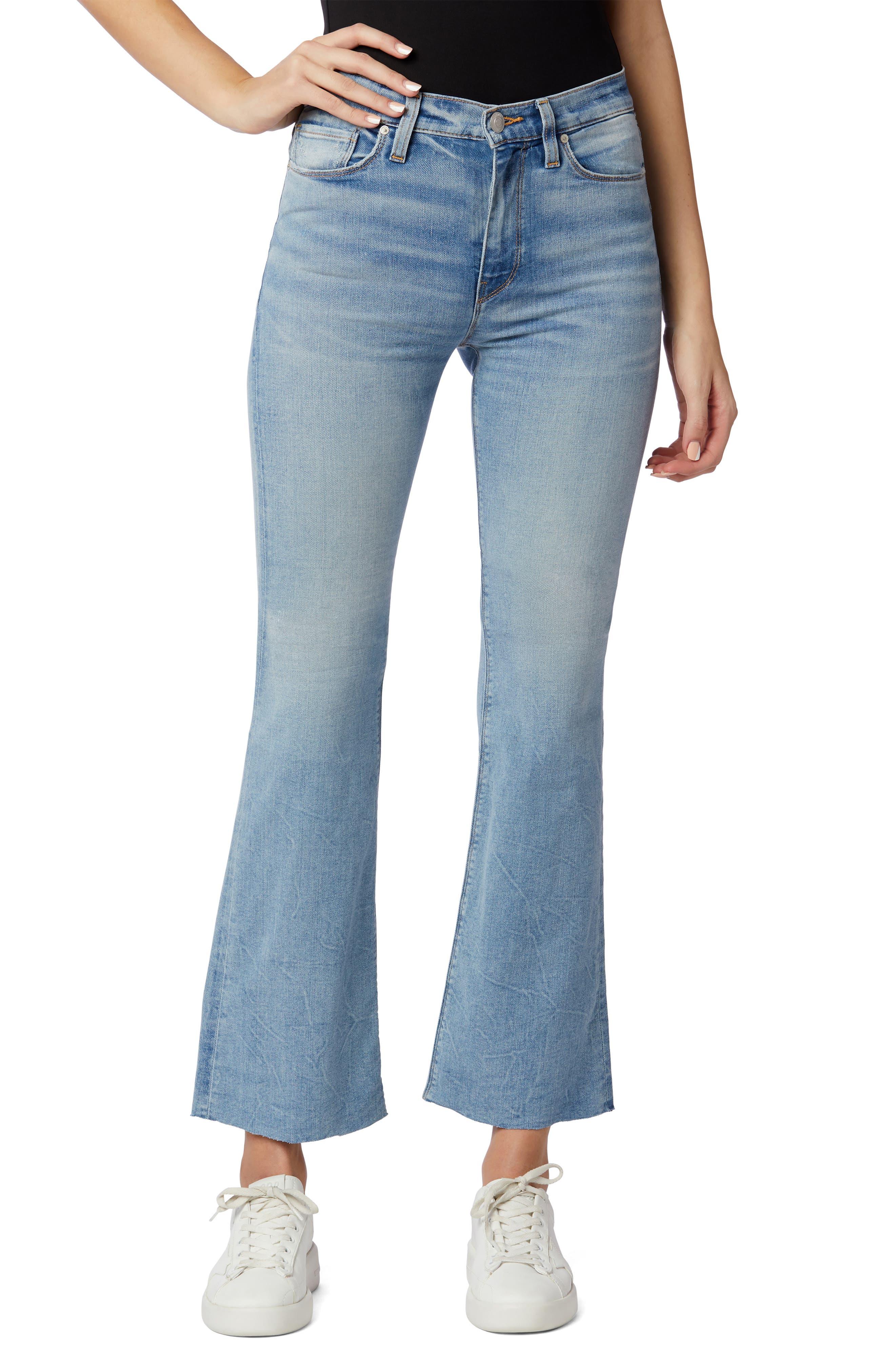 Barbara High Waist Raw Hem Crop Bootcut Jeans