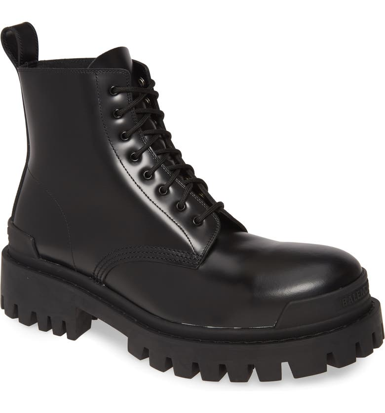 BALENCIAGA Strike Plain Toe Boot, Main, color, BLACK