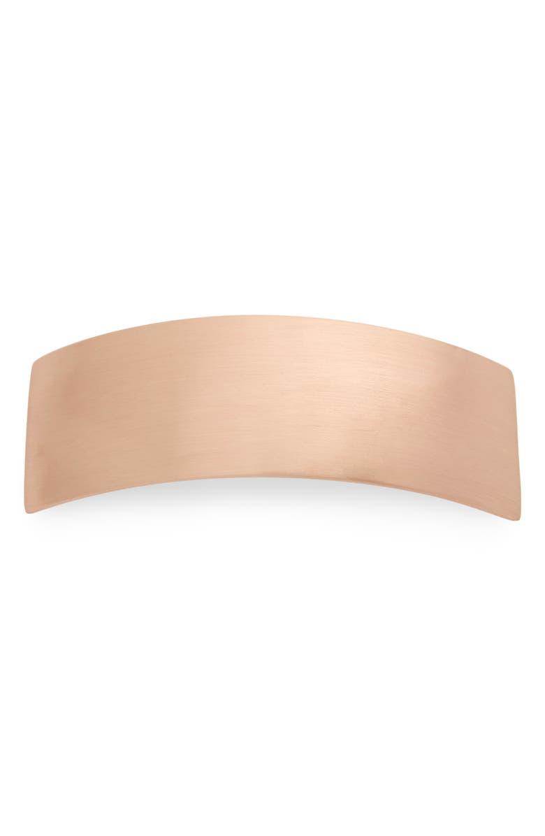 L. ERICKSON Volume Brushed Metal Barrette, Main, color, BRUSHED ROSE GOLD