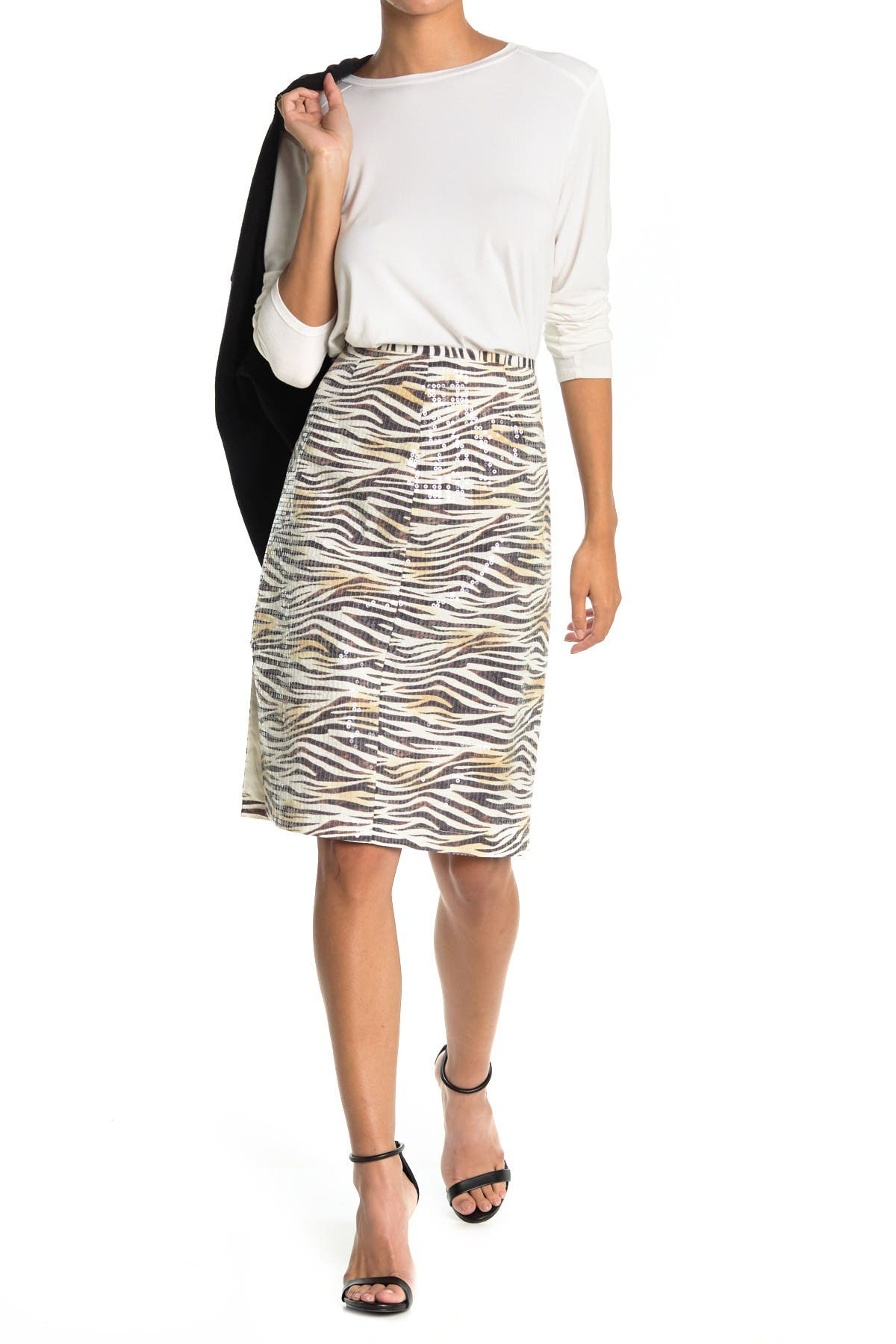 Image of LE SUPERBE Zebra Shine Pencil skirt