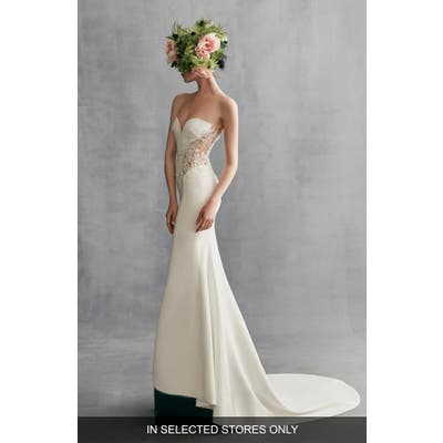 Ines By Ines Di Santo Kalina Illusion Lace & Crepe Gown, Size IN STORE ONLY - Ivory