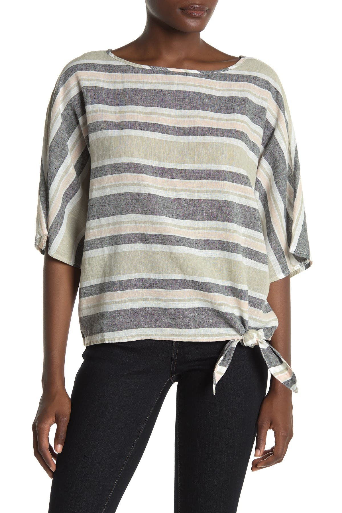 Image of BeachLunchLounge Lucy Striped Tie Side Linen Blend Shirt