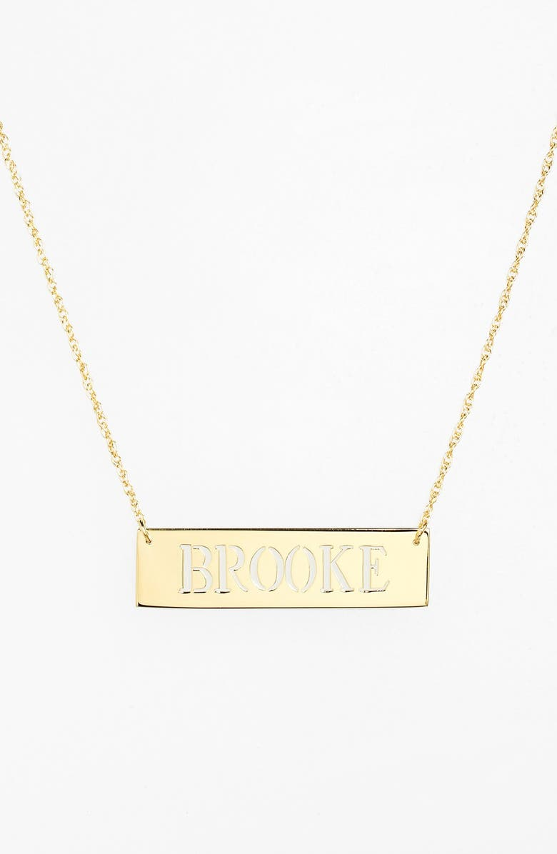 JANE BASCH DESIGNS Personalized Cutout Nameplate Necklace, Main, color, GOLD