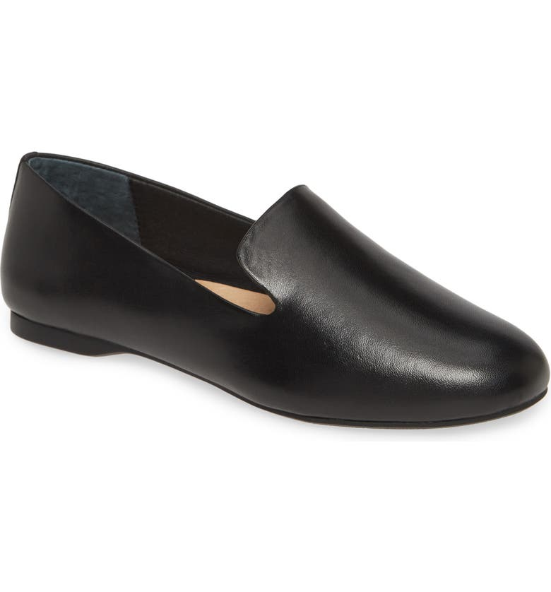 BIRDIES Starling Leather Flat, Main, color, BLACK LEATHER