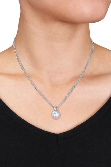 Image of Delmar Sterling Silver 11-12mm Cultured Freshwater Pearl & White Topaz Necklace