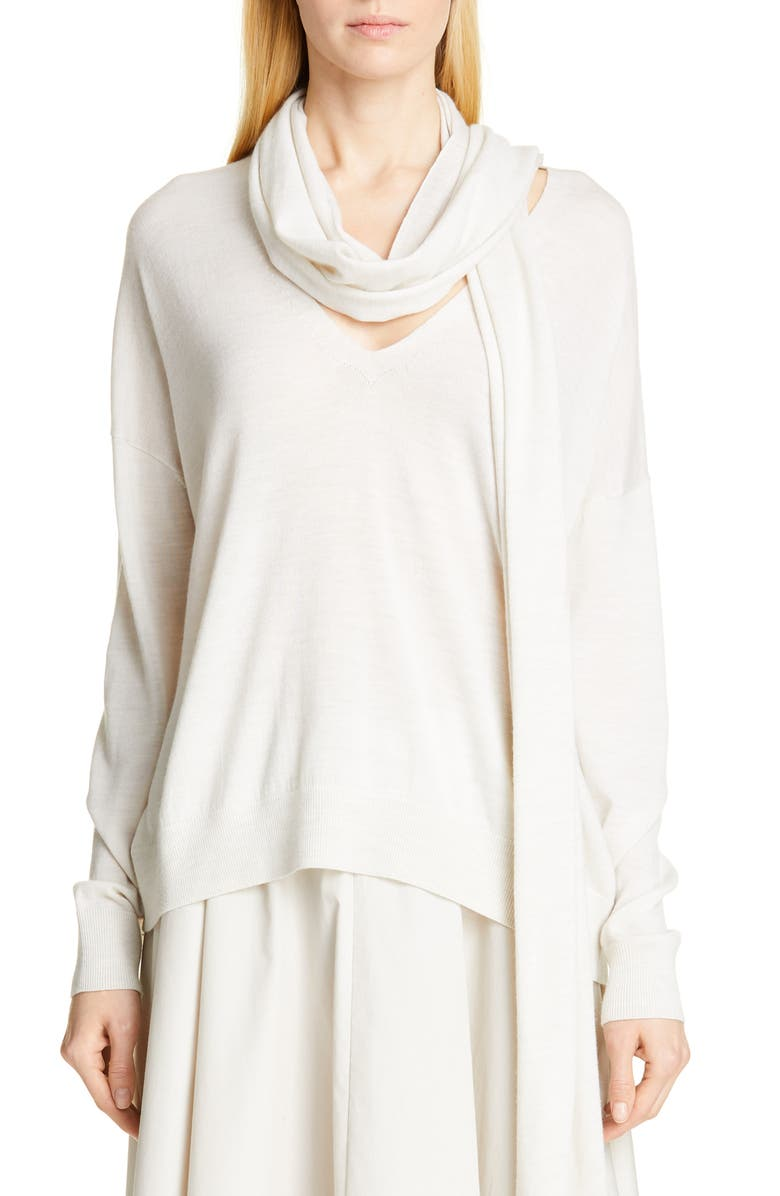 CO Scarf V-Neck Merino Wool Sweater, Main, color, CHALK