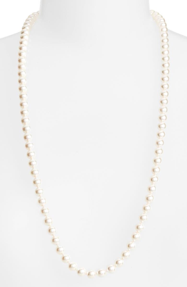 NADRI Long Imitation Pearl Necklace, Main, color, IVORY