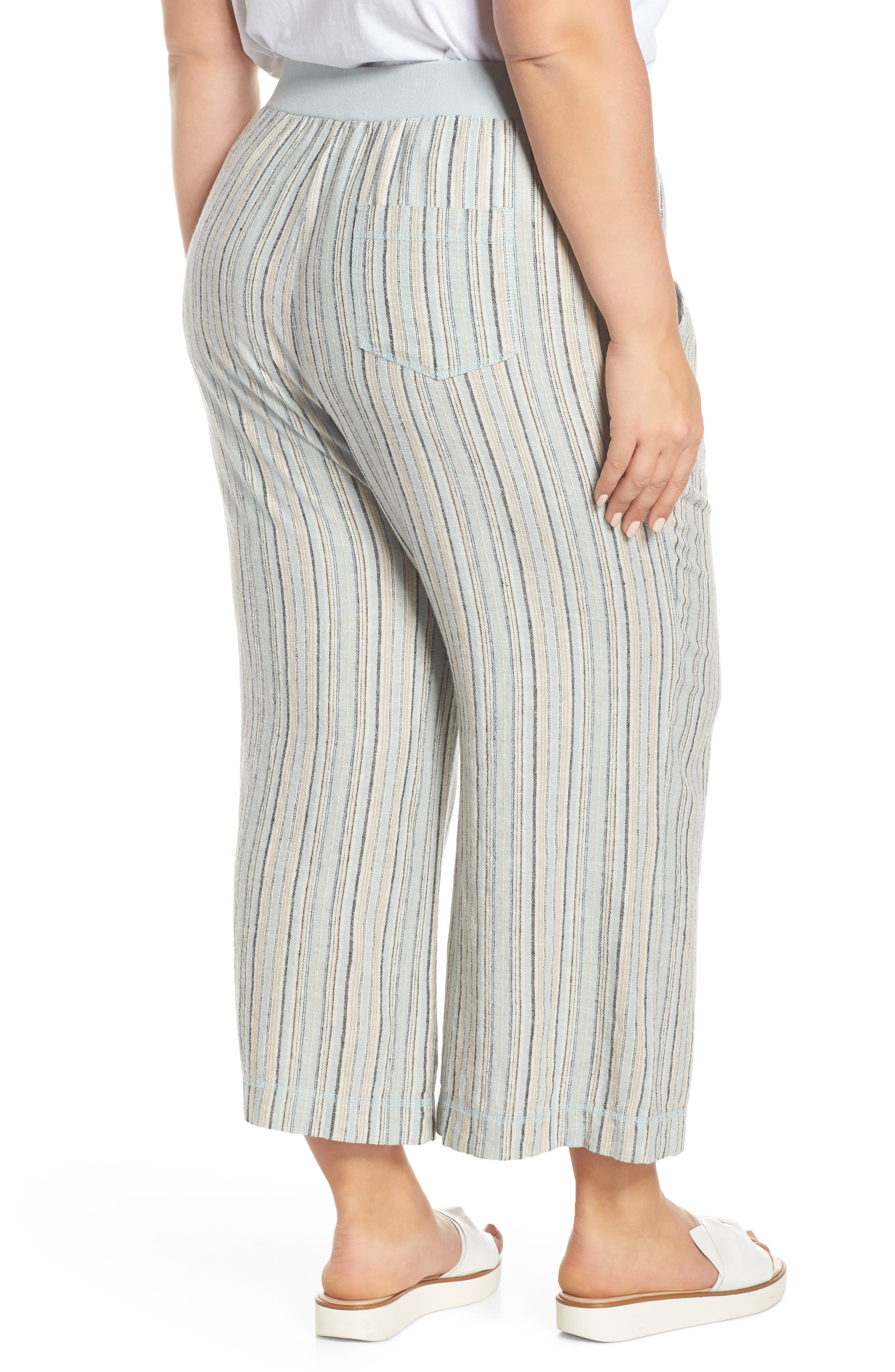 ,                             Stripe Crop Linen Blend Pants,                             Alternate thumbnail 5, color,                             450