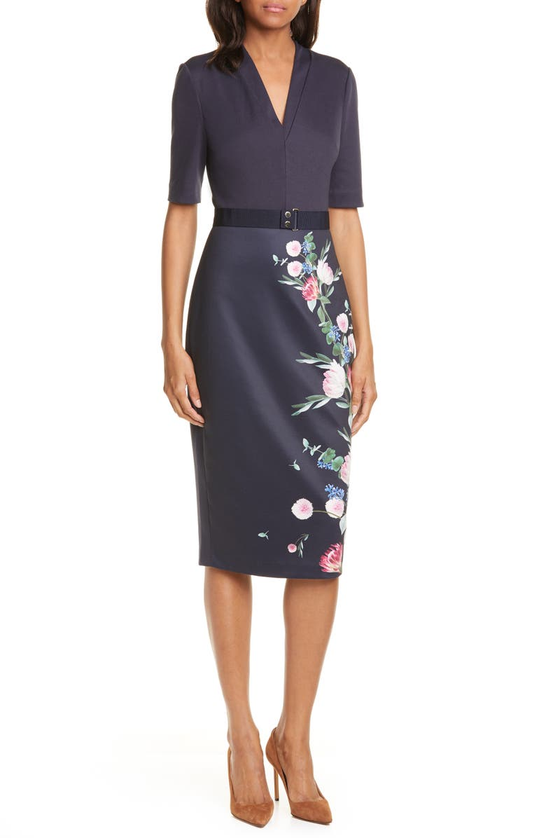 TED BAKER LONDON Norraa Fantasia Body-Con Dress, Main, color, NAVY