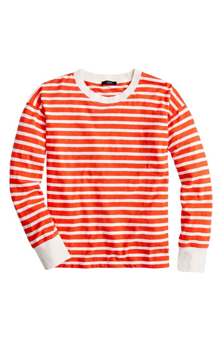 J.CREW Weekend Stripe Long Sleeve Ringer T-Shirt, Main, color, SUNSET IVORY AMBER STRIPE