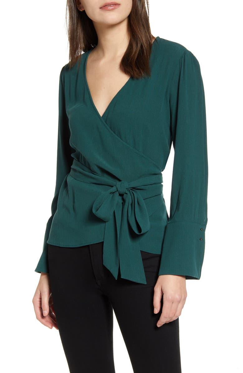 CHELSEA28 Long Sleeve Wrap Blouse, Main, color, 310