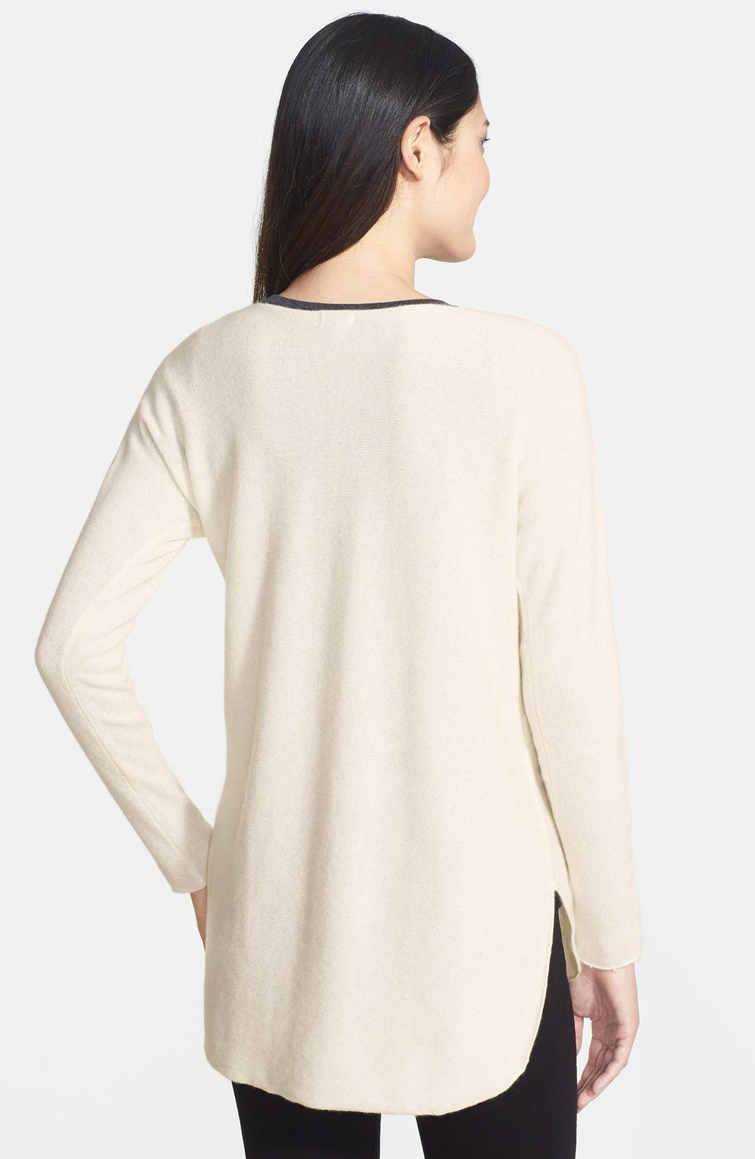 ,                             High/Low Cashmere Tunic Sweater,                             Alternate thumbnail 9, color,                             100