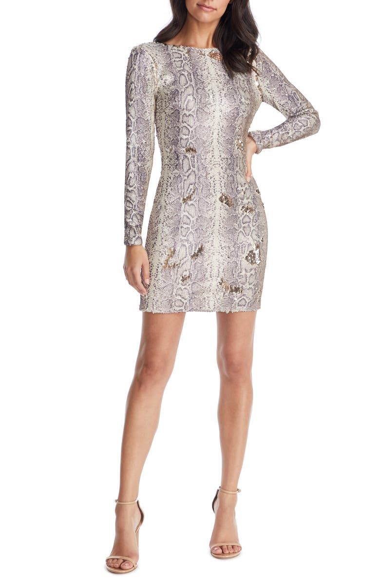 DRESS THE POPULATION Lola Long Sleeve Python Sequin Minidress, Main, color, PYTHON GOLD MULTI