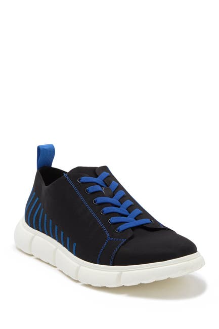 Image of Andrew Marc Solid Nylon Plain Toe Lace-Up Sneaker