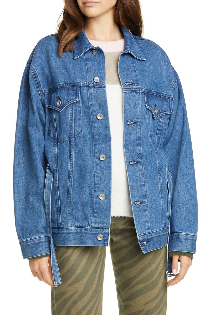 RAG & BONE Max Belted Denim Trucker Jacket, Main, color, BLUEGRASS