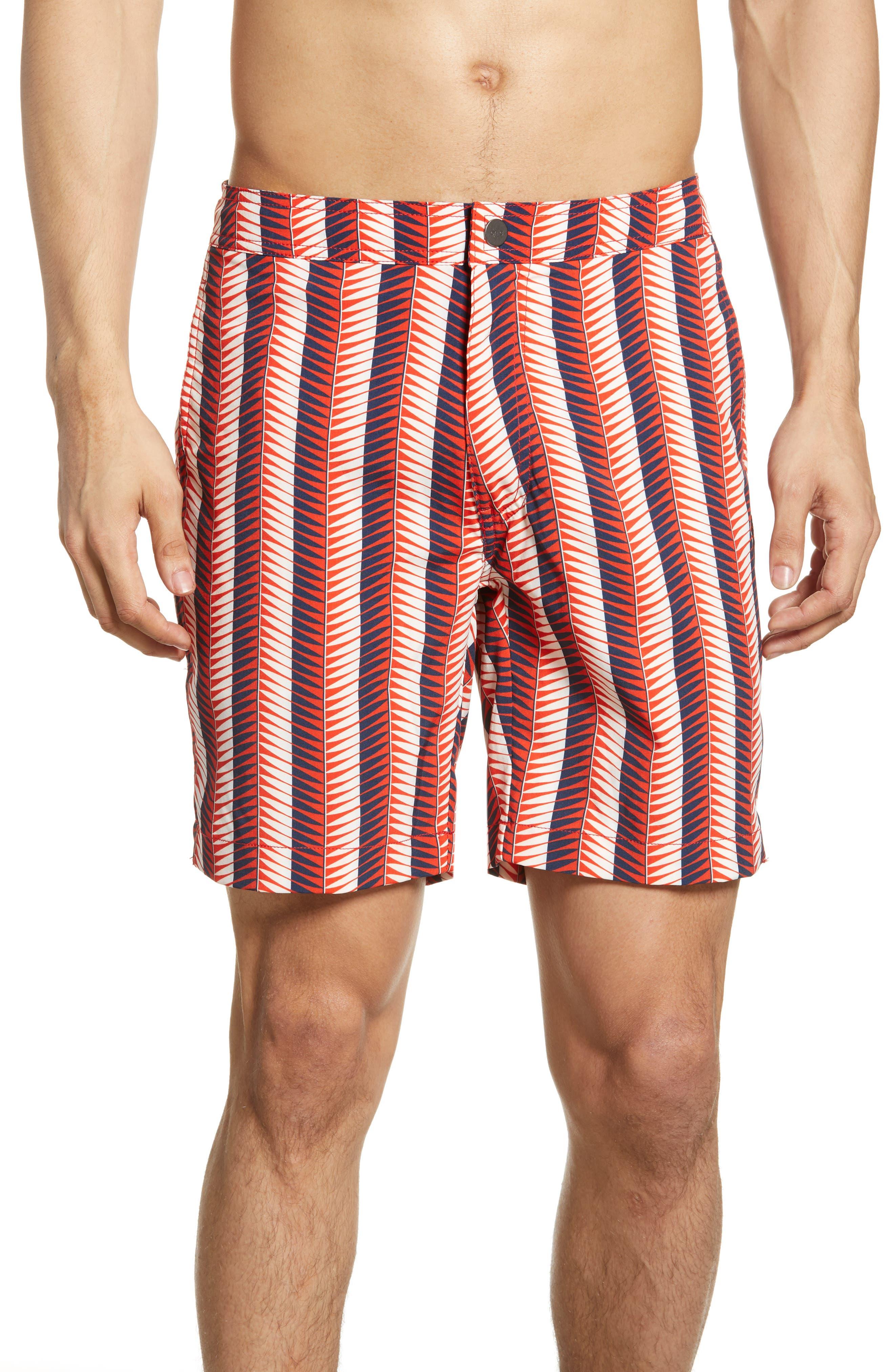 Onia Calder Geo Stripe Swim Trunks, Red