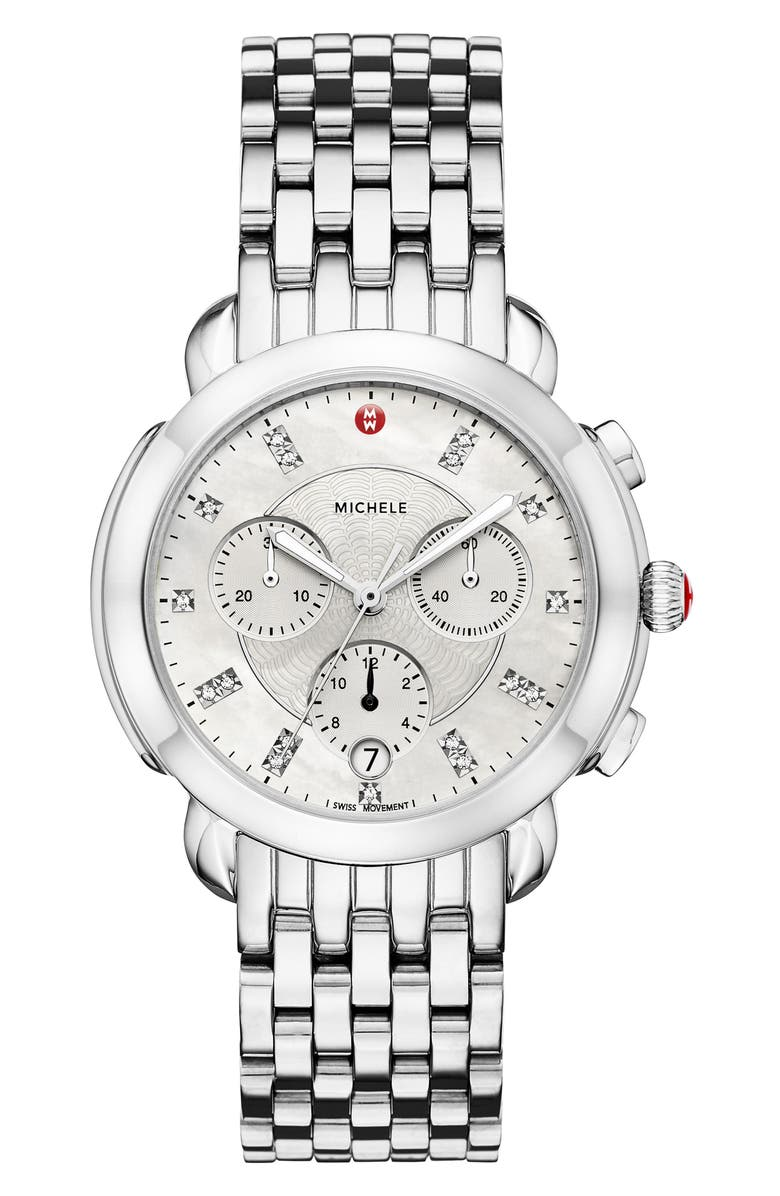 MICHELE Sidney Chronograph Diamond Watch Head & Bracelet, 38mm, Main, color, 040