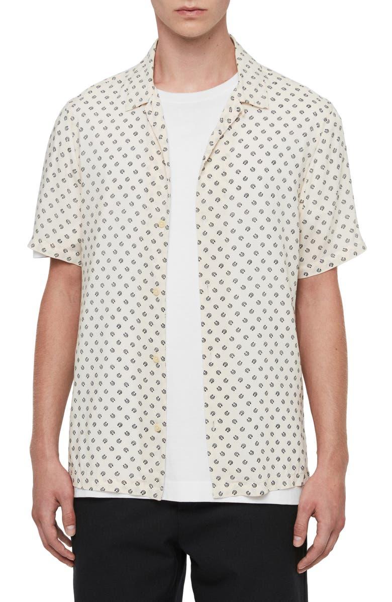 ALLSAINTS Lucked Out Regular Fit Button-Up Shirt, Main, color, ECRU/ JET BLACK