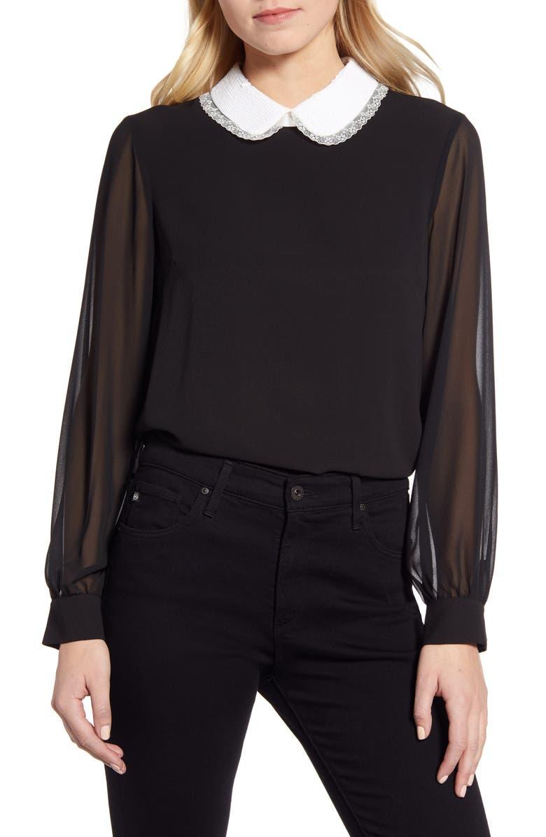 CECE Sequin Collar Blouse, Main, color, RICH BLACK