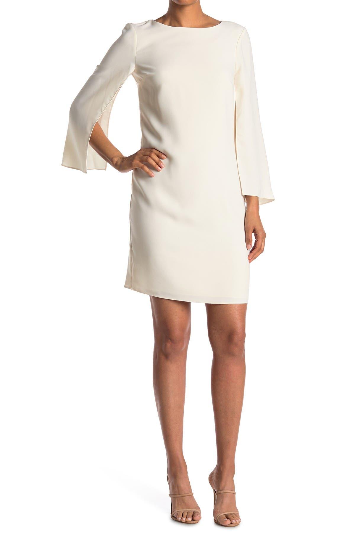 Image of HALSTON Cape Sleeve Sheath Dress