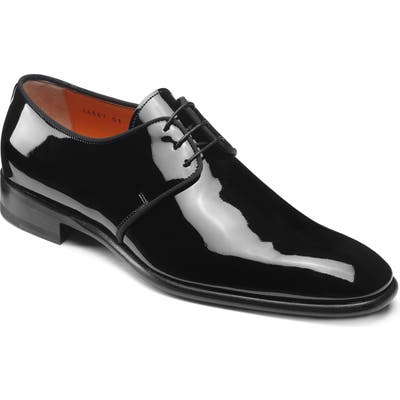 Santoni Isogram Plain Toe Derby, Black
