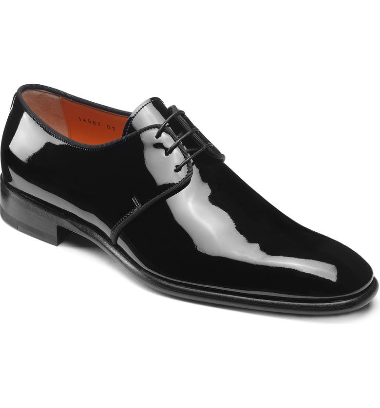 SANTONI Isogram Plain Toe Derby, Main, color, BLACK