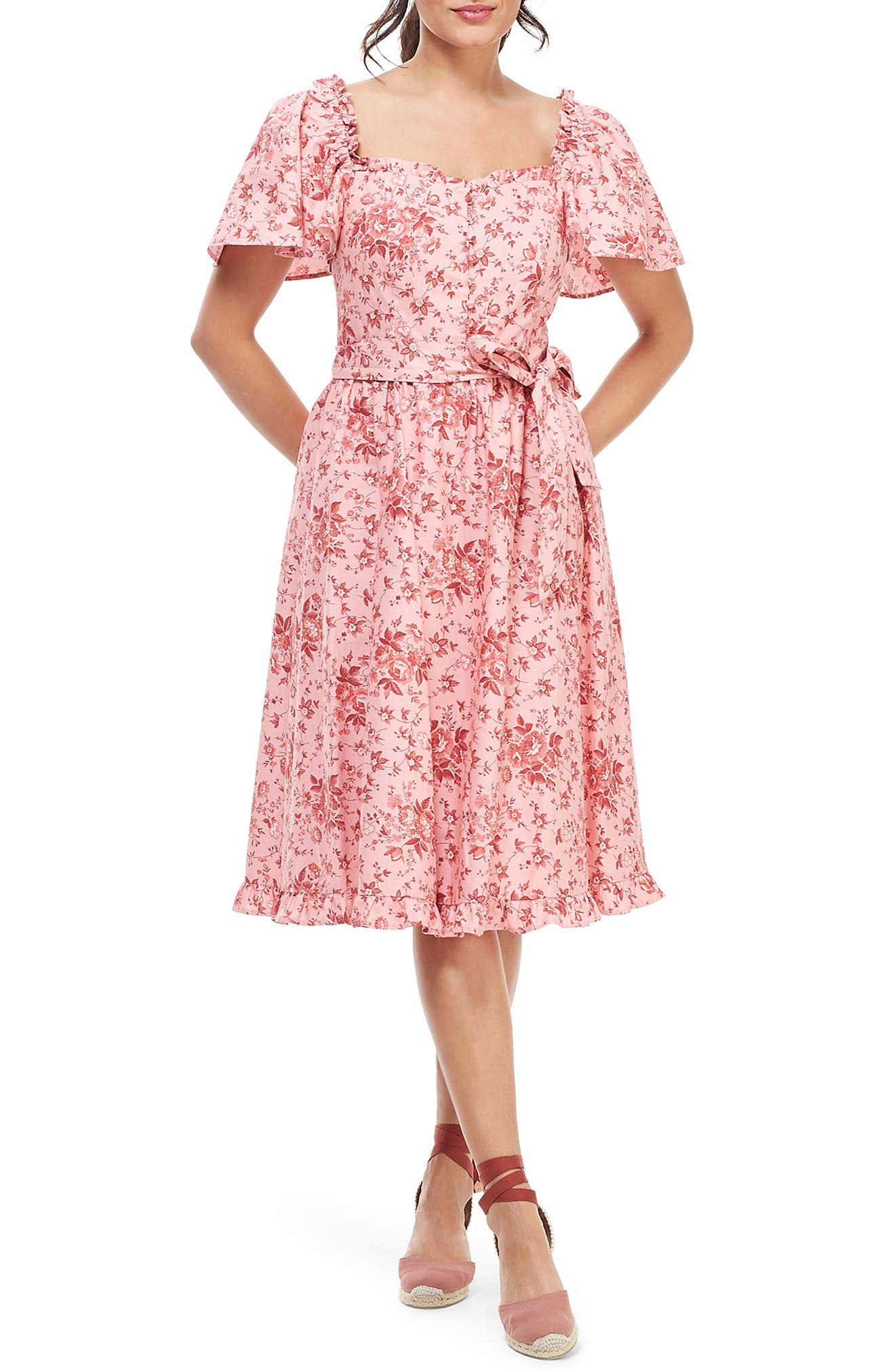 Gal Meets Glam Collection Marianna Floral Print Dress, Pink