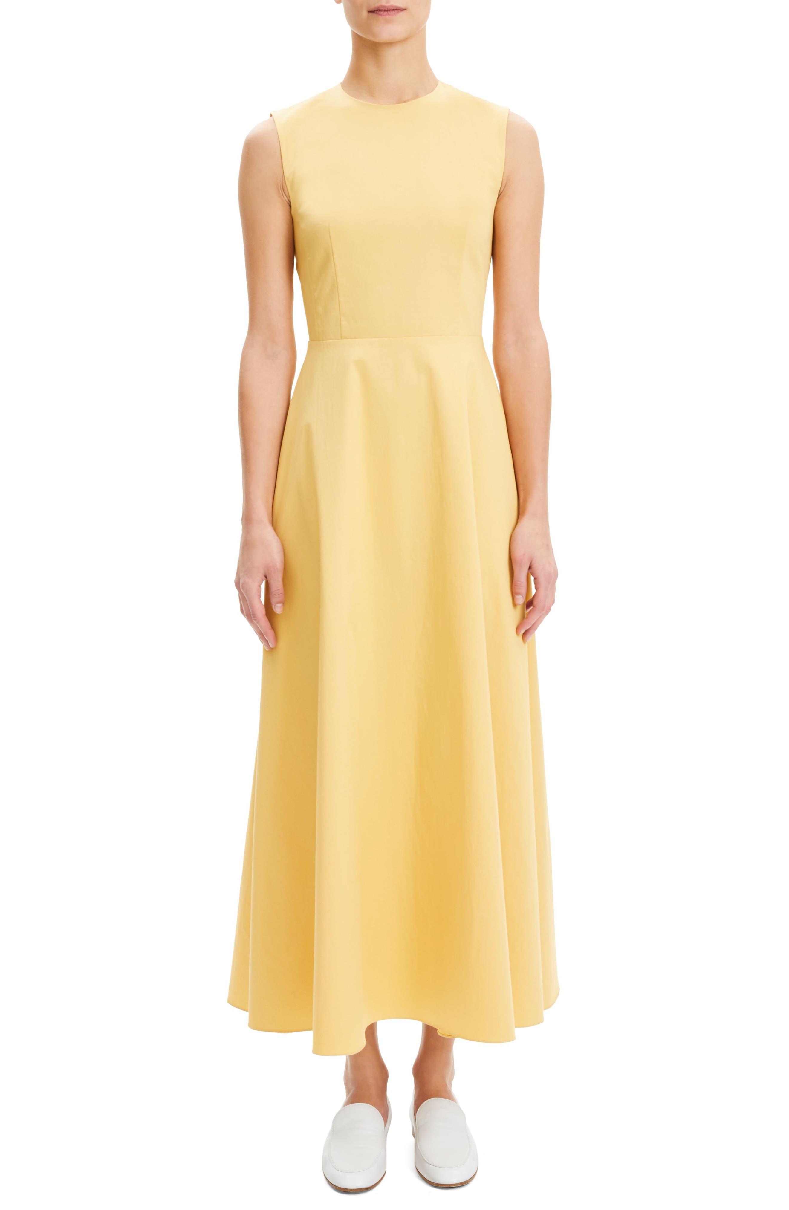 Theory Sleeveless Stretch Cotton Dress, Yellow