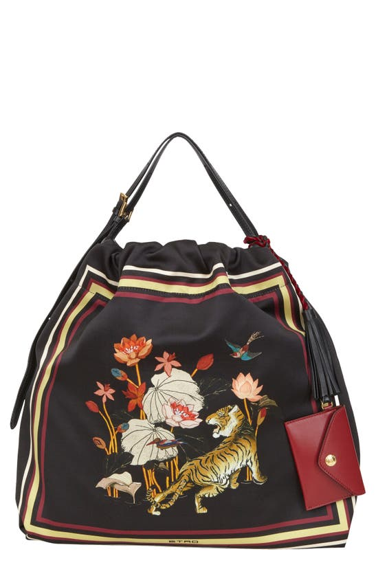 Etro TIGER & WATER LILY PRINT HOBO