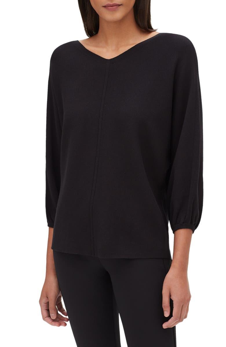 LAFAYETTE 148 NEW YORK Matte Crepe Dolman Sweater, Main, color, BLACK