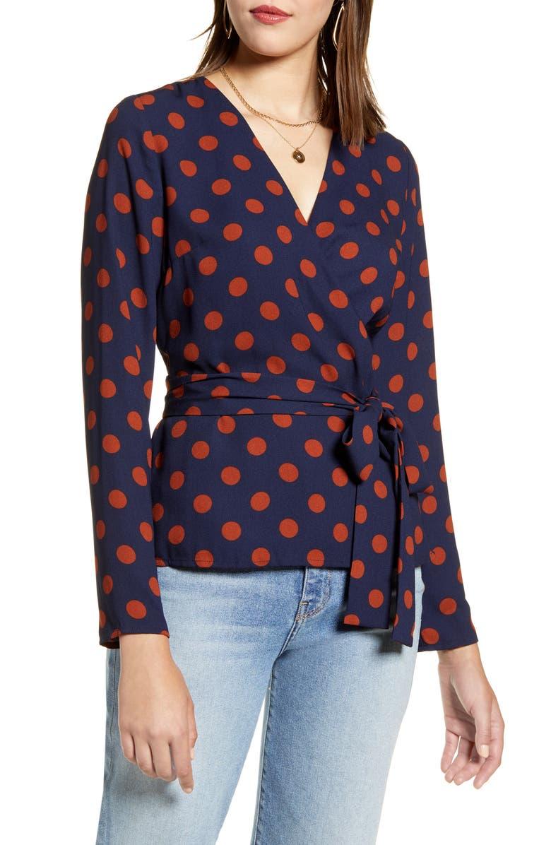 HALOGEN<SUP>®</SUP> Tie Detail Wrap Blouse, Main, color, NAVY- RUST DOT