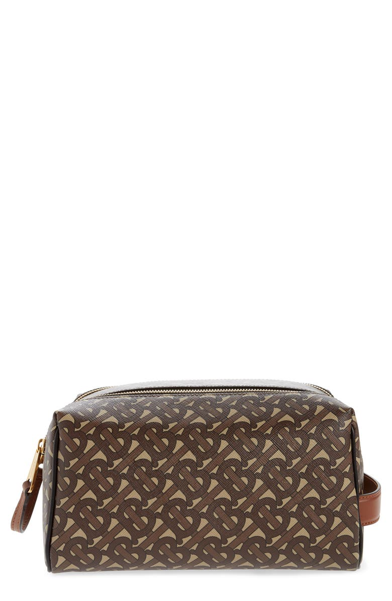 BURBERRY Monogram Heart Dopp Kit, Main, color, BRIDLE BROWN
