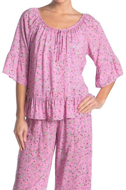 Image of Kensie Floral 3/4 Sleeve Ruffled Pajama Top