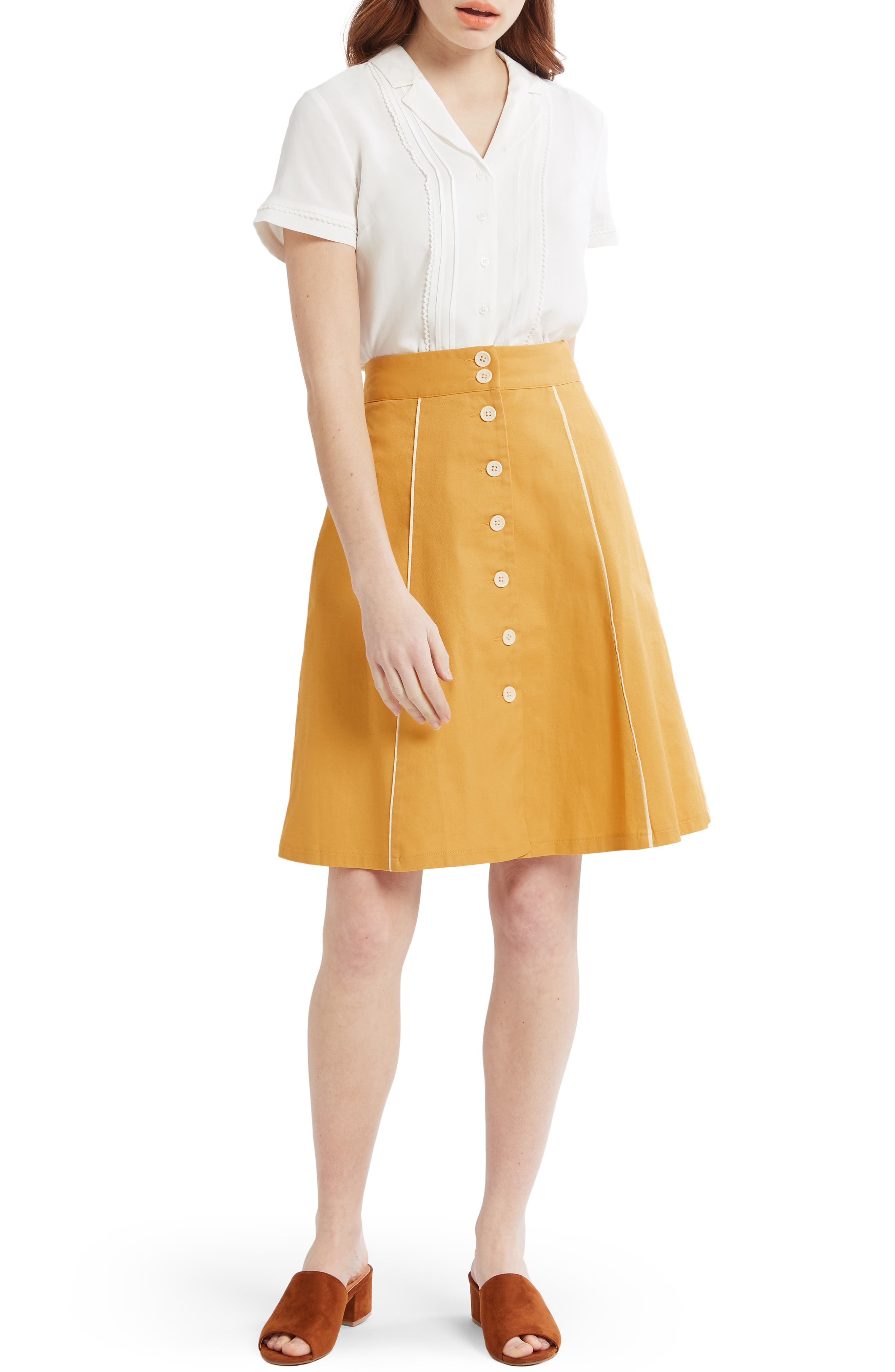 ,                             Button Front A-Line Skirt,                             Alternate thumbnail 6, color,                             MUSTARD- YOLK YELLOW