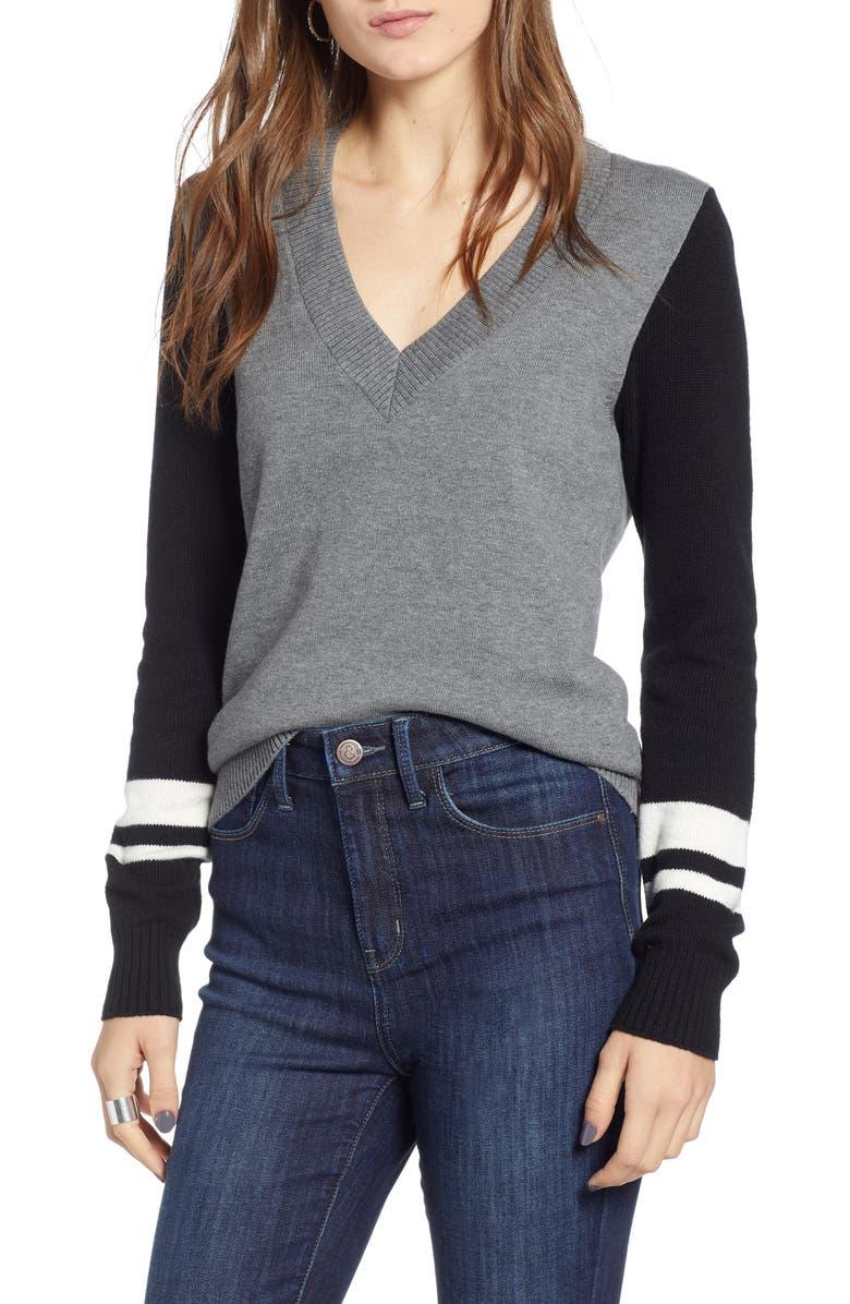 TREASURE & BOND Stripe V-Neck Sweater, Main, color, 030