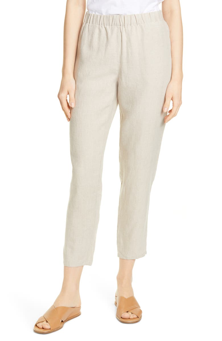 EILEEN FISHER Tapered Linen Ankle Pants, Main, color, 900