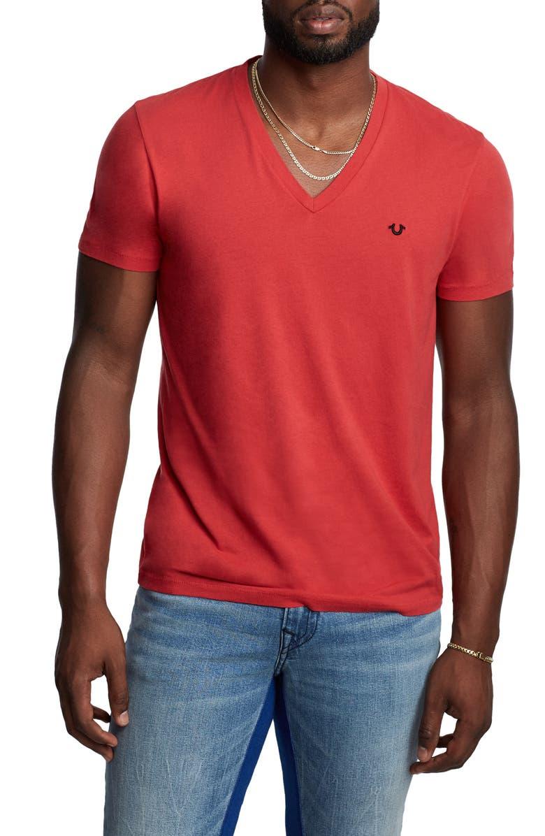 TRUE RELIGION BRAND JEANS V-Neck T-Shirt, Main, color, RED