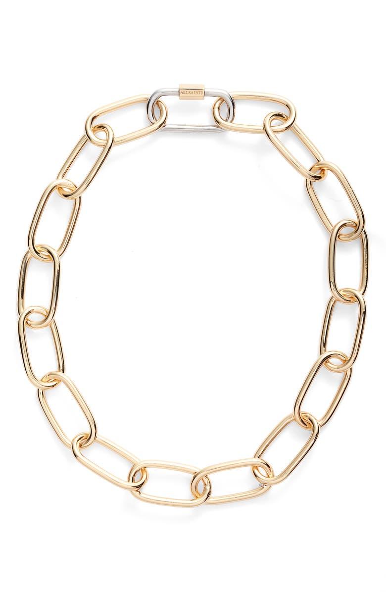ALLSAINTS Carabiner Link Necklace, Main, color, SILVER/ GOLD