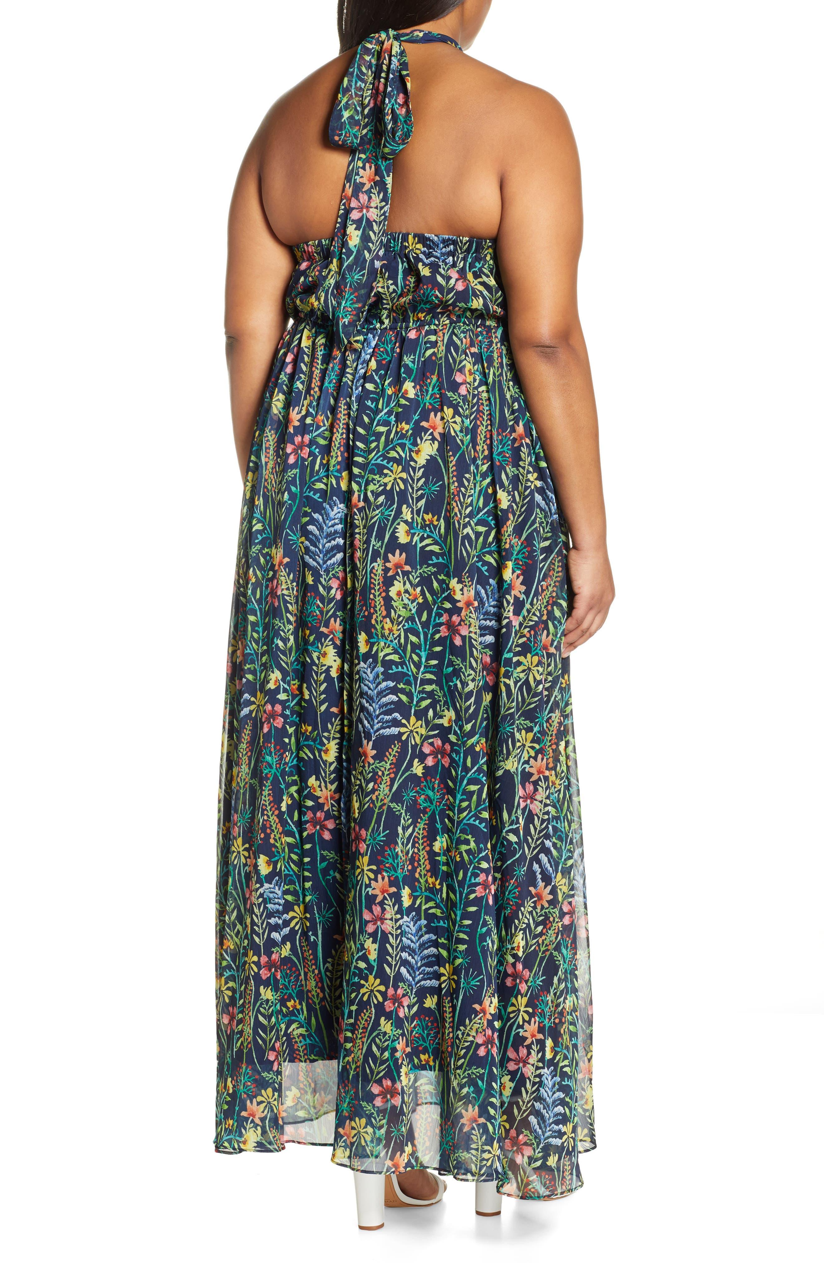 ,                             Jason Wu x ELOQUII Floral Print Halter Maxi Dress,                             Alternate thumbnail 2, color,                             SO LITTLE THYME - NAVY GROUND