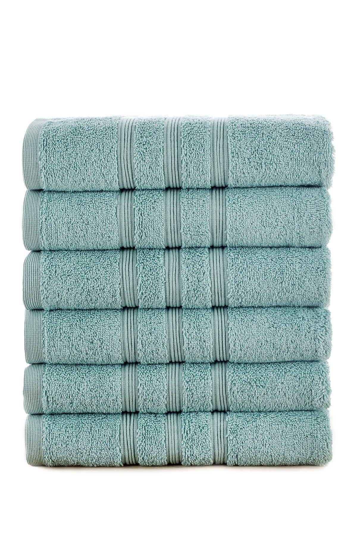 Image of Modern Threads Manor Ridge Turkish Cotton 700 GSM Hand Towel - Set of 6 - Aqua