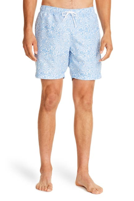Image of CONSTRUCT Light Blue Abstract Print Drawstring Swimming Trunks
