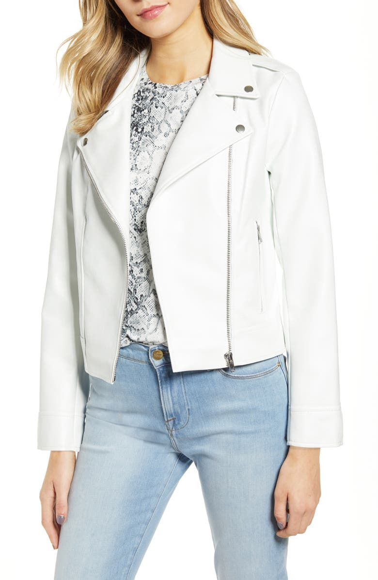 BB DAKOTA Faux Leather Moto Jacket, Main, color, WHITE