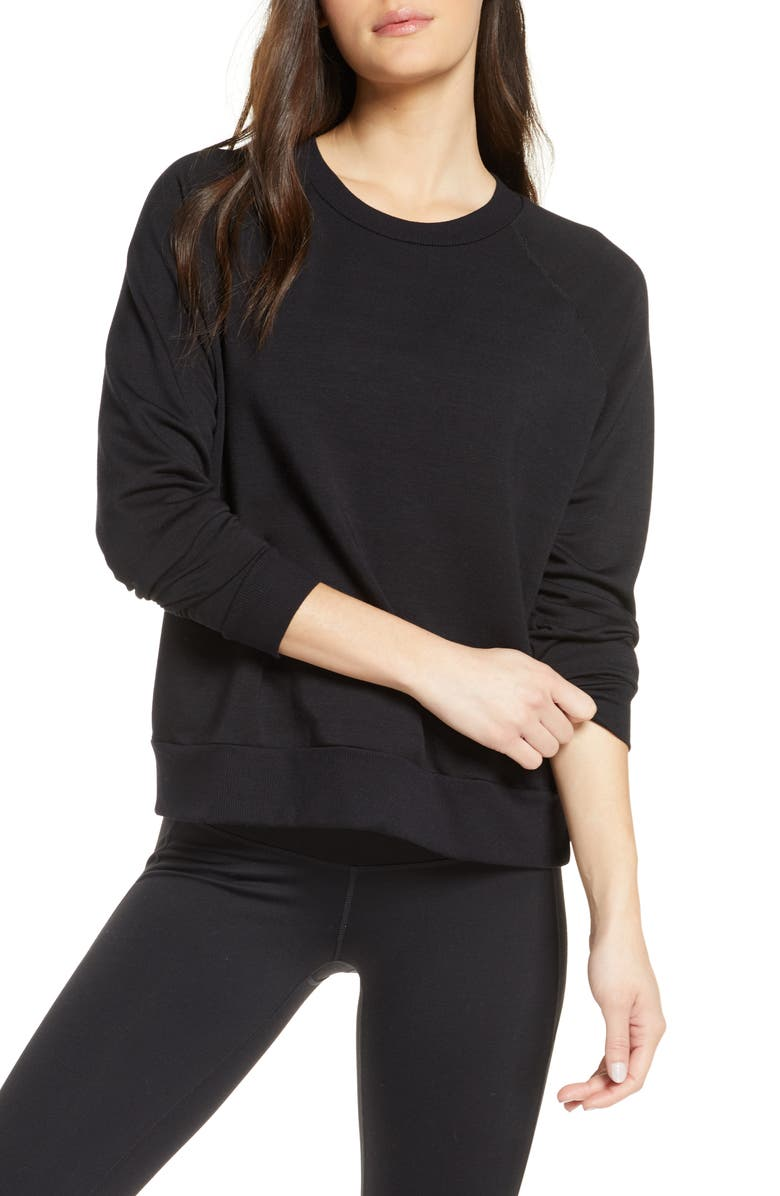 BEYOND YOGA Fleece Raglan Sweatshirt, Main, color, BLACK