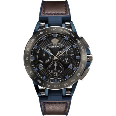 Versace Sport Tech Chronograph Leather Strap Watch, 45Mm