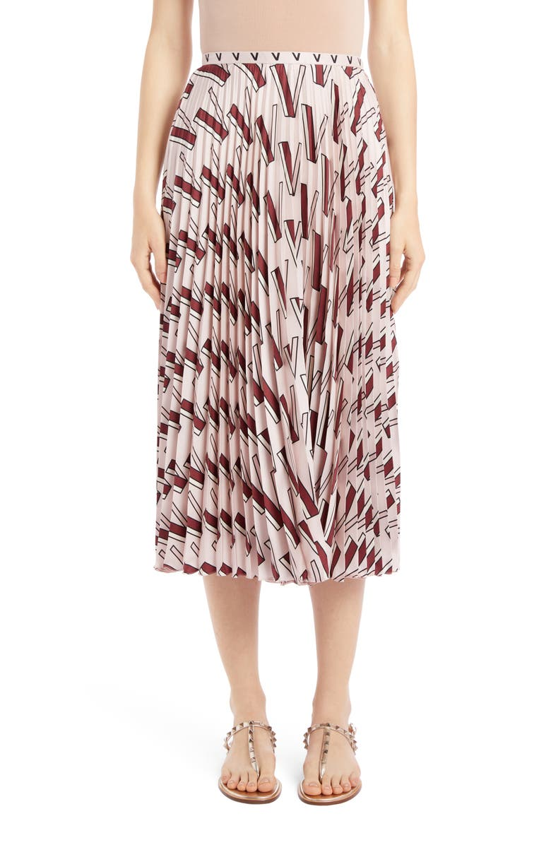 VALENTINO V-Print Pleated Silk Midi Skirt, Main, color, 650