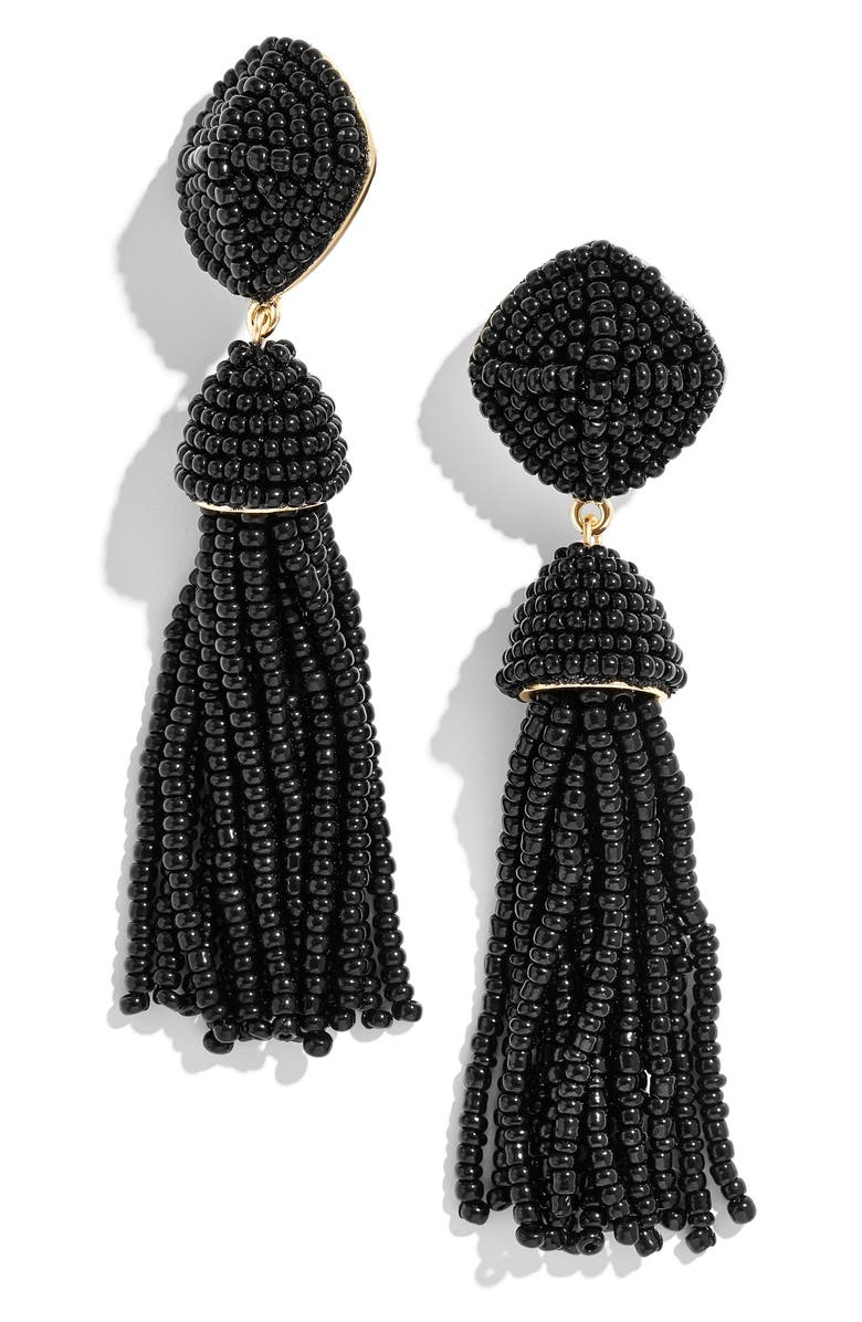 BAUBLEBAR Rubina Beaded Tassel Earrings, Main, color, BLACK
