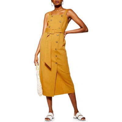 Topshop Belted Pinafore Midi Dress, US (fits like 0-2) - Yellow