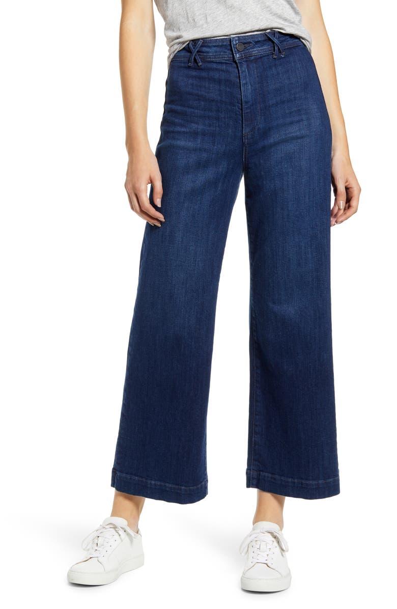 PAIGE Transcend - High Waist Ankle Wide Leg Jeans, Main, color, 400